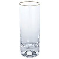 Pair Dimple Gold Range Crystal Highball Tall Tumblers by Dartington Crystal