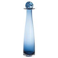Ink Blue Large Glass Bottle Small Decanter with Caithness Ball Stopper by Dartington Crystal