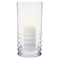 Large Wibble Glass Hurricane Storm Lantern Lamp with Candle by Dartington Crystal
