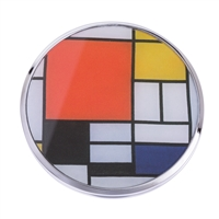 Folding Compact Handbag Mirror Mondrian Composition with Large Red Plane by John Beswick