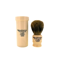Faux Ivory Badger Bristle Shaving Brush and Travel Tube