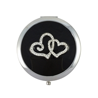 Compact Handbag Mirror with Entwined Love Hearts and Swarovski Crystals