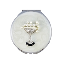 Compact Handbag Mirror with Champagne Glass of Swarovski Crystals and Pearls.
