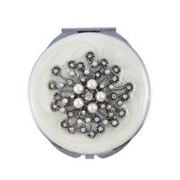 Compact Handbag Mirror with Large Flower of Swarovski Crystals and Pearls