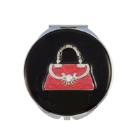 Compact Handbag Mirror with Pink Handbag Design Set with Swarovski Crystal