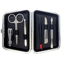 Gentlemen's Black Leather Five Piece Manicure Cased Set