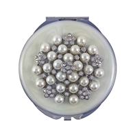 Compact Handbag Mirror 'Diamonds & Pearls' with White Enamel