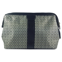 Gladstone Style Gents Wash Bag with Basket Weave Design