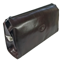 Gents Brown Leather Traditional Square Toiletry Bag