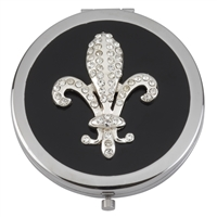Compact Mirror Swarovski Crystal with Black Enamel Fleur de Lis Design