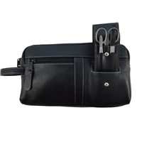 Gent's Double Pocketed Leather Wash Bag with Manicure Set