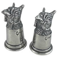 English Pewter Pheasant Head Salt and Pepper Shakers