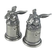 English Pewter Hare Head Salt and Pepper Shakers