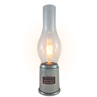 Pewter Based Traditional Edison Table Lamp with Glass Shade