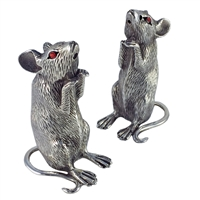 Solid Sterling Silver Mice Salt and Pepper Shakers by Francis Howard