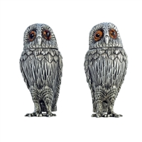 Solid Sterling Silver Wise Owl Salt and Pepper Shakers by Francis Howard