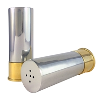 English Pewter & Brass Shotgun Cartridge Salt and Pepper Shakers