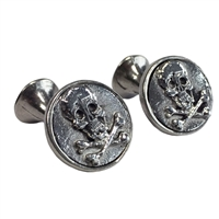 English Pewter Skull and Cross Bones 'Poison' Cufflinks