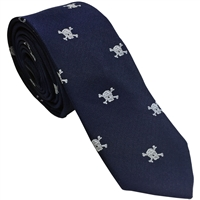 Navy Blue Silk Necktie with Skull & Crossbones Motif by Peckham Rye