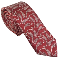 Red Teardrop Paisley Silk Tie by Peckham Rye