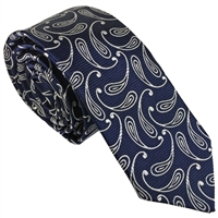 Blue Teardrop Paisley Silk Tie by Peckham Rye