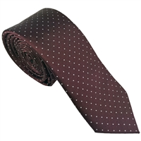 Maroon Spot Silk Tie London Cut by Peckham Rye