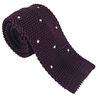 Knitted Silk Burgundy Spot Tie by Peckham Rye