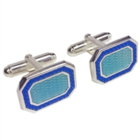 Hand Enamelled Sterling Silver Two Tone Blue Cufflinks