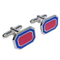 Hand Enamelled Sterling Silver Blue and Pink Cufflinks