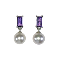 9ct White Gold Amethyst, Diamond and Freshwater Pearl Earring Drops