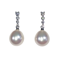 9ct White Gold Diamond and Freshwater Pearl Drop Earrings