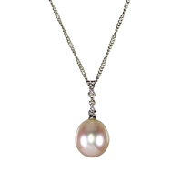 9ct White Gold Diamond and Cultured Pearl Pendant and Chain.
