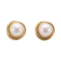 9ct Yellow Gold Knot Design Cultured Akoya Pearl Stud Earrings