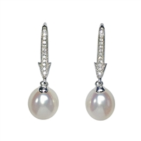 9ct White Gold, Diamond and Freshwater Pearl Drop Earrings
