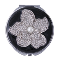 Compact Handbag Mirror with Black Enamel and Flower Motif