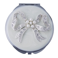 Compact Handbag Mirror. White Enamel with Crystal Bow Design