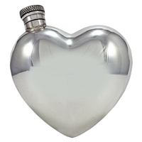 Pewter 6oz Love Heart Shaped Hip Flask by English Pewter Company