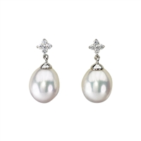 9ct White Gold Freshwater Pearl and Diamond Earrings