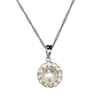 9ct White Gold Daisy Design Diamond and Cultured Pearl Pendant and Chain.