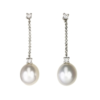 18ct White Gold Long Freshwater Pearl and Diamond Drop Earrings