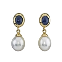 18ct Yellow Gold Cabochon Sapphire and Freshwater Pearl Earrings