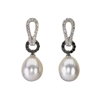 18ct White Gold Fine Freshwater Pearl, Black and White Diamond Drop Earrings