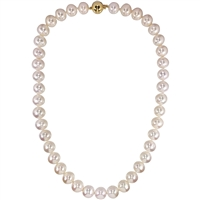 Necklet of Large 10 - 11mm Near Round AAA Grade Freshwater Pearls With 9ct Clasp