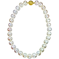Graduated Row Large 12mm - 15mm Near Round Freshwater Pearls with 9ct Clasp