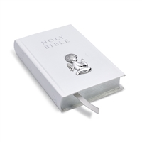 White Leather Bound KJV Bible with Sterling Silver Guardian Angel
