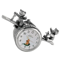 Pewter Teddy Bears' Picnic Playtime Table Clock. 13.5cm long