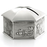 Pewter Umbrella Rainy Day Money Box in Wooden Case by Royal Selangor