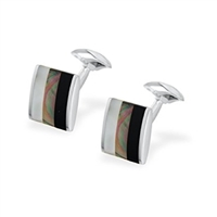 Tri-Colour Mother of Pearl and Black Onyx Square Cufflinks by Francis Howard