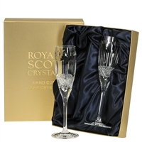 Pair Belgravia Lead Crystal Champagne Flute Glasses by Royal Scot Crystal