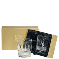 Pair Belgravia Lead Crystal Whisky Tumblers by Royal Scot Crystal